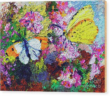 Wood Print featuring the painting Impressionist Butterflies In Summer Garden by Ginette Callaway