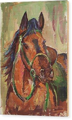 Impressionist Horse Wood Print by Janet Garcia