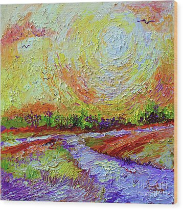 Wood Print featuring the painting Impressionist Sunny Day Landscape by Ginette Callaway