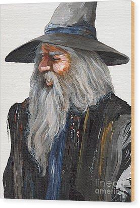 Impressionist Wizard Wood Print by J W Baker