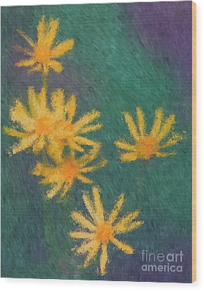Wood Print featuring the painting Impressionist Yellow Wildflowers by Smilin Eyes  Treasures