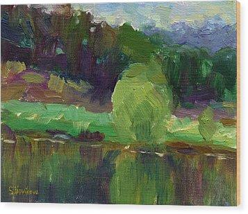 Impressionistic Oil Landscape Lake Painting Wood Print by Svetlana Novikova