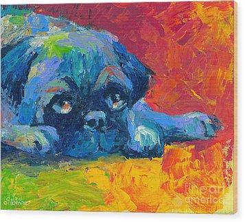 impressionistic Pug painting Wood Print by Svetlana Novikova