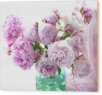 Wood Print featuring the photograph Impressionistic Romantic Pink Peonies Watercolor Romantic Floral Decor - Pink Peony Decor by Kathy Fornal