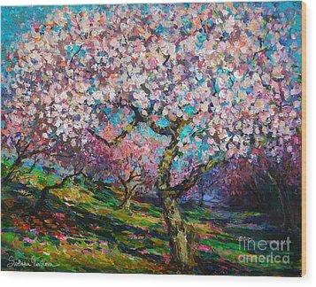 Impressionistic Spring Blossoms Trees Landscape Painting Svetlana Novikova Wood Print by Svetlana Novikova