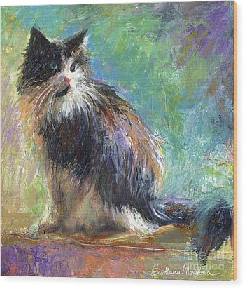 Impressionistic Tuxedo Cat Portrait Wood Print by Svetlana Novikova