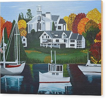 Impressions Of New England Two Wood Print by Donna Blossom