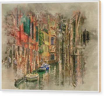 Impressions Of Venice Wood Print by Brian Tarr