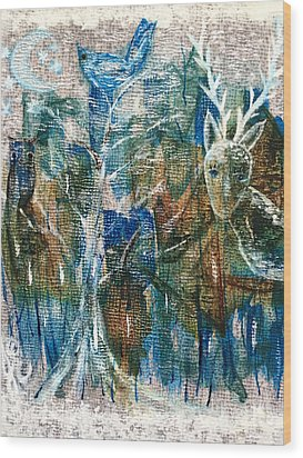 Wood Print featuring the painting In A Blue Moon by Julie Engelhardt