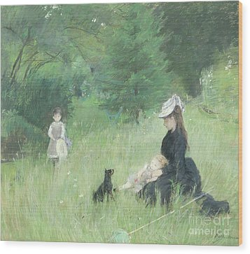 In A Park Wood Print by Berthe Morisot
