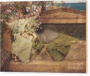 In A Rose Garden Wood Print by Sir Lawrence Alma-Tadema