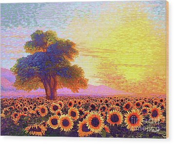 In Awe Of Sunflowers, Sunset Fields Wood Print