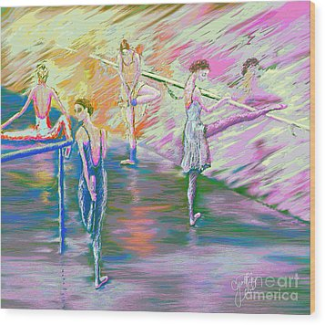 In Ballet Class Wood Print by Cynthia Sorensen