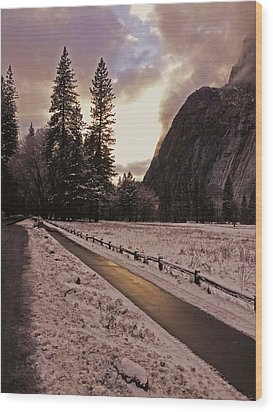 Wood Print featuring the photograph In Between Snow Falls by Walter Fahmy