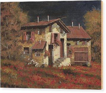 In Campagna La Sera Wood Print by Guido Borelli