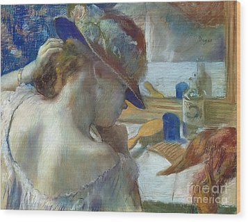 In Front Of The Mirror Wood Print by Edgar Degas