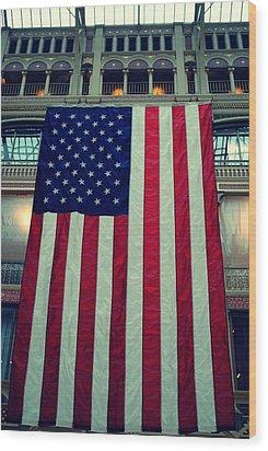 In God We Trust American Flag Milwaukee Wi Wood Print by Laura Pineda