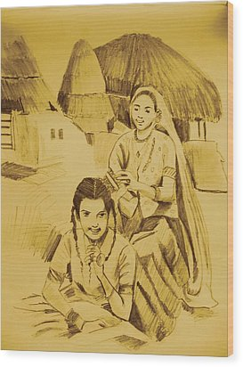 In Her Company Wood Print by Navjinder Kainthrai