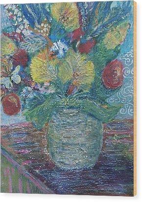 In Honor Of My Friends In My Garden Wood Print by Anne-Elizabeth Whiteway