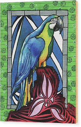 Wood Print featuring the painting In Love With A Macaw by Dora Hathazi Mendes
