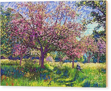 In Love With Spring, Blossom Trees Wood Print by Jane Small