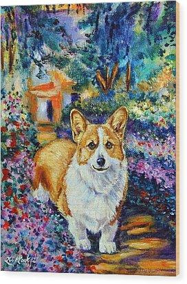 In Monet's Garden - Pembroke Welsh Corgi Wood Print by Lyn Cook