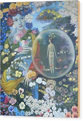 Wood Print featuring the painting In My Summer Garden by Tone Aanderaa