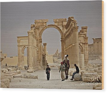 Wood Print featuring the photograph In Old Palmyra by Cendrine Marrouat