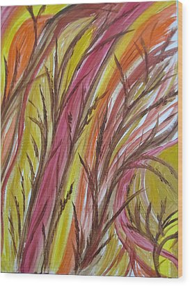 In Rushes Fall Wood Print by Sharyn Winters