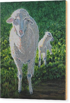 Wood Print featuring the painting In Sheep's Clothing by Karen Ilari