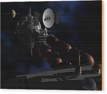 Wood Print featuring the digital art In Sight Of Saturn by David Robinson