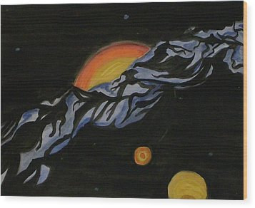 In Space Wood Print by Carolyn Cable