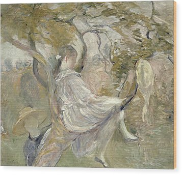 In The Apple Tree Wood Print by Berthe Morisot