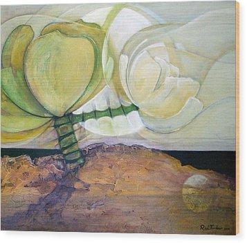 In The Beginning Wood Print by Riek  Jonker