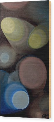 Wood Print featuring the painting In The Circles Of The Light by Saad Hasnain