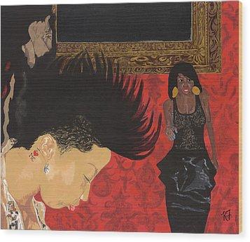 In The Club Wood Print by Rishanna Finney