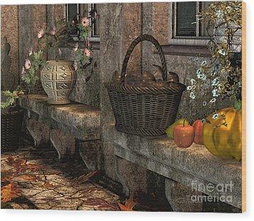 In The Courtyard Wood Print by Jutta Maria Pusl