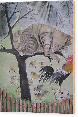 In The Courtyard Wood Print by Lian Zhen