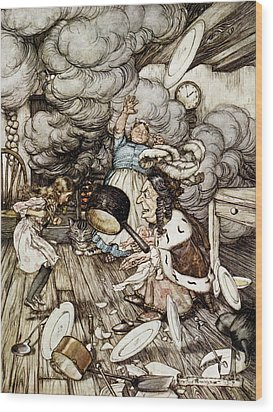 In The Duchesss Kitchen Wood Print by Arthur Rackham