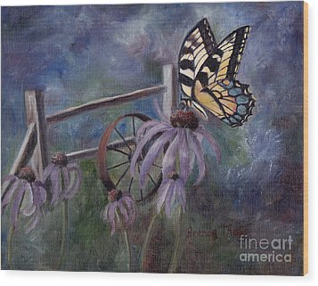 Wood Print featuring the painting In The Garden by Brenda Thour