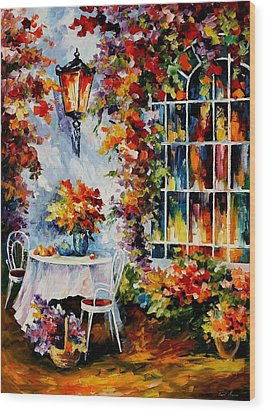 In The Garden Wood Print by Leonid Afremov
