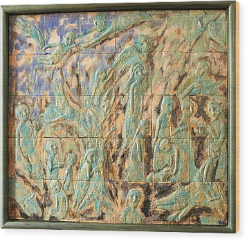 In The Green Mist Wood Print by Raimonda Jatkeviciute-Kasparaviciene