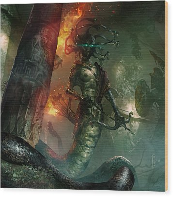 In The Lair Of The Gorgon Wood Print by Ryan Barger
