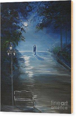 In The Loving Moonlight Wood Print by Leslie Allen