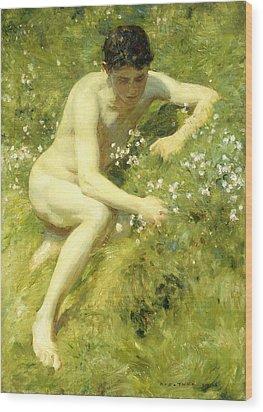 In The Meadow Wood Print by Henry Scott Tuke