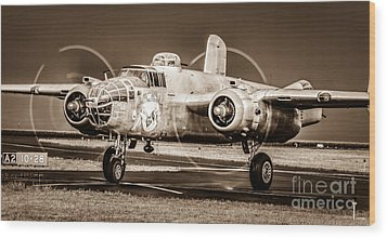 In The Mood - B-25 II Wood Print by Steven Reed