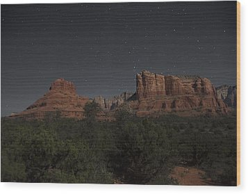 In The Moonlight Bell Rock Courthouse Butte Sedona Wood Print