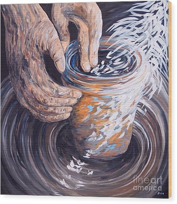 In The Potter's Hands Wood Print by Eloise Schneider