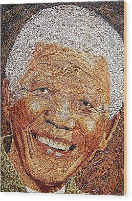 Nelson Mandela - In The Pyramid Of Our Minds Wood Print