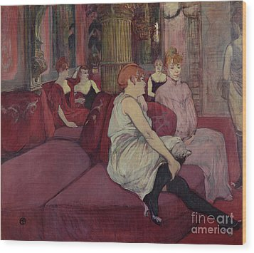 In The Salon At The Rue Des Moulins Wood Print by Henri de Toulouse-Lautrec